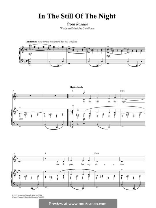 In the Still of the Night: Para vocais e piano (ou Guitarra) by Cole Porter