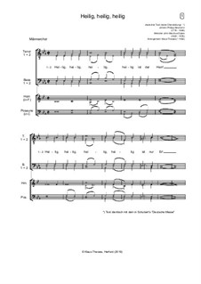 Holy, Holy, Holy! Lord God Almighty: For male choir and winds by John Bacchus Dykes