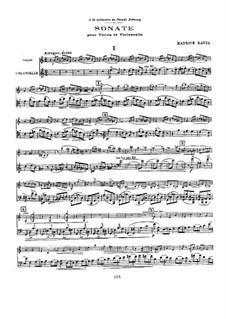 Sonata for Violin and Cello, M.73: partitura by Maurice Ravel