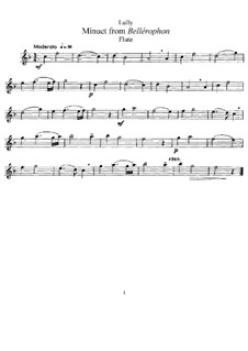 Bellérophon, LWV 57: Minuet, for flute and piano – flute part by Jean-Baptiste Lully