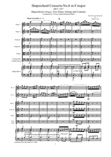 Concerto for Harpsichord, Two Flutes and Strings No.6 in F Major, BWV 1057: partituras completas, partes by Johann Sebastian Bach