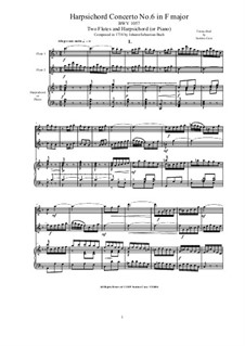 Concerto for Harpsichord, Two Flutes and Strings No.6 in F Major, BWV 1057: Version for two flutes and harpsichord (or piano) by Johann Sebastian Bach