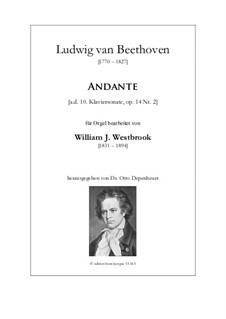 Sonata for Piano No.10, Op.14 No.2: Andante cantabile, for organ by Ludwig van Beethoven