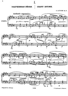 Three Pieces for Piano, Op.2: No.1 Chant intime by Georgy Catoire