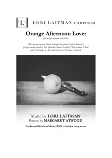 Orange Afternoon Lover: For mezzo-soprano and piano (priced for 2 copies) by Lori Laitman