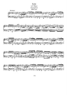 Suite for Harpsichord No.6 in F Minor, BWV 823: Para Piano by Johann Sebastian Bach