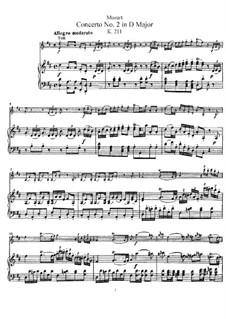 Concerto for Violin and Orchestra No.2 in D Major, K.211: arranjo para violino e piano by Wolfgang Amadeus Mozart