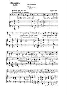 No.8 Talismane (Talismans): Partitura piano-vocal (textos em francês e alemão) by Robert Schumann
