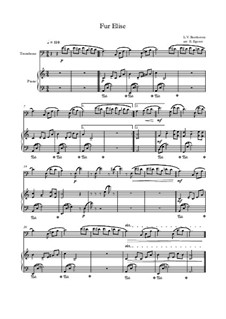 For Elise, WoO 59: For trombone and piano (thema) by Ludwig van Beethoven
