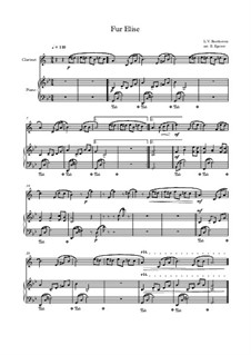 For Elise, WoO 59: For clarinet and piano (thema) by Ludwig van Beethoven