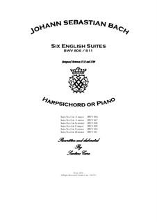 Complete set, BWV 806-811: para arpa (ou piano) by Johann Sebastian Bach