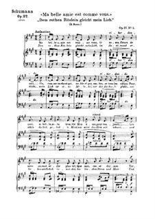 Songs and Romances, Op.27: No.2 Dem rothen Röslein gleicht mein Lieb (A Red, Red Rose) by Robert Schumann