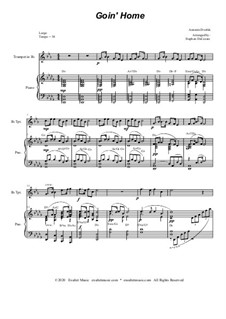 Movement II (Largo): For Bb-trumpet solo and piano by Antonín Dvořák