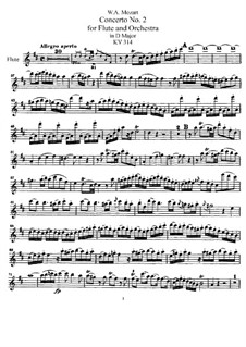 Concerto for Flute and Orchestra No.2 in D Major, K.314: Parte de solo by Wolfgang Amadeus Mozart