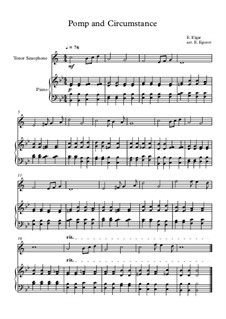 10 Easy Classical Pieces For Tenor Saxophone & Piano: Pomp and Circumstance by Franz Schubert, Johann Strauss (Sohn), Edward Elgar, Jacques Offenbach, Ludwig van Beethoven, Edvard Grieg, Julius Benedict, Mildred Hill, Eduardo di Capua