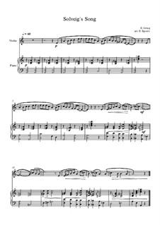 10 Easy Classical Pieces for Violin & Piano: Solveig's Song by Franz Schubert, Johann Strauss (Sohn), Edward Elgar, Jacques Offenbach, Ludwig van Beethoven, Edvard Grieg, Julius Benedict, Mildred Hill, Eduardo di Capua