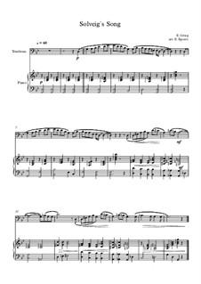 10 Easy Classical Pieces For Trombone & Piano: Solveig's Song by Franz Schubert, Johann Strauss (Sohn), Edward Elgar, Jacques Offenbach, Ludwig van Beethoven, Edvard Grieg, Julius Benedict, Mildred Hill, Eduardo di Capua