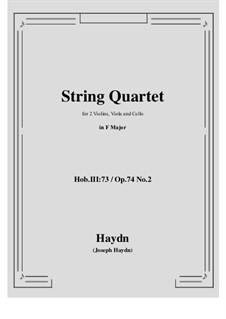 String Quartet No.58 in F Major, Hob.III/73 Op.74 No.2: partituras completas, partes by Joseph Haydn