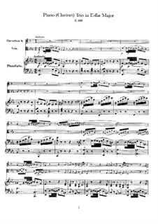 Trio for Clarinet, Viola (or Violin) and Piano in E Flat Major 'Kegelstatt', K.498: Partitura completa by Wolfgang Amadeus Mozart