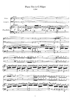 Trio for Violin, Cello and Piano No.5 in G Major, K.564: Partitura completa by Wolfgang Amadeus Mozart