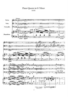 Quartet for Piano and Strings No.1 in G Minor, K.478: Partitura completa by Wolfgang Amadeus Mozart