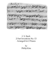 No.13 in A Minor, BWV 784: dois pianos de quatro mãos by Johann Sebastian Bach