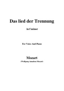 Trennungslied, K.519: F minor by Wolfgang Amadeus Mozart