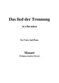 Trennungslied, K.519: E flat minor by Wolfgang Amadeus Mozart