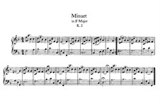 Minuet for Piano in F Major, K.2: For a single performer by Wolfgang Amadeus Mozart