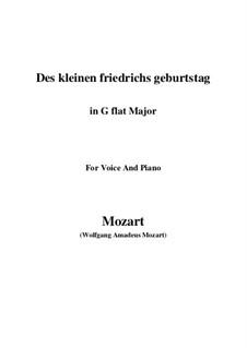 Des kleinen Friedrichs Geburtstag, K.529: G sharp Major by Wolfgang Amadeus Mozart