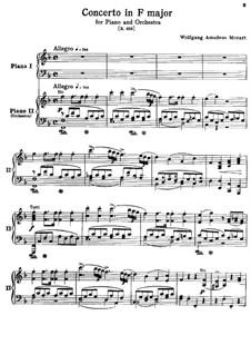 Concerto for Piano and Orchestra No.19 in F Major, K.459: arranjos para dois pianos de quatro mãos by Wolfgang Amadeus Mozart