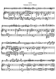 Sonata for Violin and Piano in G Minor 'Didone abbandonata': partitura by Giuseppe Tartini