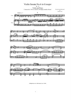 Sonata for Violin (or Flute) and Piano No.2 in G Major, K.11: partituras e parte solos by Wolfgang Amadeus Mozart