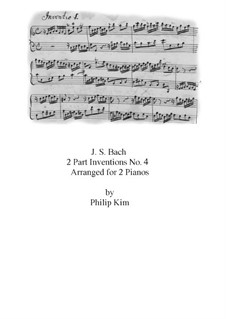 No.4 in D Minor, BWV 775: dois pianos de quatro mãos by Johann Sebastian Bach