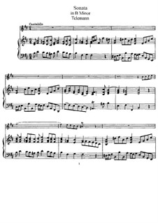 Sonata for Flute and Piano in B Minor: partitura by Georg Philipp Telemann
