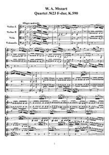 String Quartet No.23 in F Major, K.590: partituras completas, partes by Wolfgang Amadeus Mozart