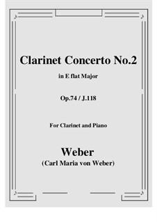 Concerto for Clarinet and Orchestra No.2, J.118 Op.74: versão para clarinete e piano by Carl Maria von Weber