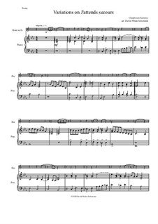 Variations on J'attends secours: For tenor horn (horn in E flat) and piano by Claudin de Sermisy