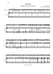 Tourdion (Quand je bois du vin clairet): Variations, for tenor horn (horn in E flat)  and piano by Claude Gervaise
