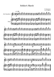 10 Easy Classical Pieces For Alto Saxophone & Piano Vol.3: Soldier's March by Edward MacDowell, Johann Strauss (Sohn), Johannes Brahms, Georg Friedrich Händel, Felix Mendelssohn-Bartholdy, Robert Schumann, Muzio Clementi, Giuseppe Verdi, Anton Rubinstein, Johan Halvorsen