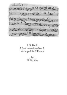 No.5 in E Flat Major, BWV 776: para dois pianos by Johann Sebastian Bach