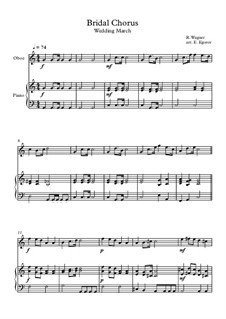 10 Easy Classical Pieces For Oboe & Piano Vol.4: Bridal Chorus (Wedding March) by Johann Sebastian Bach, Tomaso Albinoni, Joseph Haydn, Wolfgang Amadeus Mozart, Franz Schubert, Jacques Offenbach, Richard Wagner, Giacomo Puccini, folklore