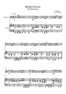 10 Easy Classical Pieces For Bassoon & Piano Vol.4: Bridal Chorus (Wedding March) by Johann Sebastian Bach, Tomaso Albinoni, Joseph Haydn, Wolfgang Amadeus Mozart, Franz Schubert, Jacques Offenbach, Richard Wagner, Giacomo Puccini, folklore