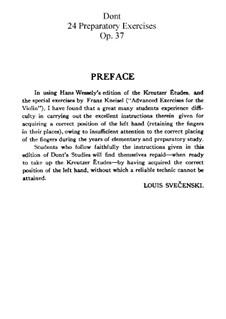 Twenty-Four Preparatory Exercises, Op.37: Twenty-Four Preparatory Exercises by Jakob Dont