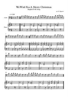 10 Easy Classical Pieces For Cello & Piano Vol.4: We Wish You A Merry Christmas by Johann Sebastian Bach, Tomaso Albinoni, Joseph Haydn, Wolfgang Amadeus Mozart, Franz Schubert, Jacques Offenbach, Richard Wagner, Giacomo Puccini, folklore