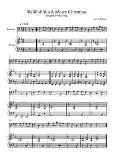 10 Easy Classical Pieces For Bassoon & Piano Vol.4: We Wish You A Merry Christmas by Johann Sebastian Bach, Tomaso Albinoni, Joseph Haydn, Wolfgang Amadeus Mozart, Franz Schubert, Jacques Offenbach, Richard Wagner, Giacomo Puccini, folklore