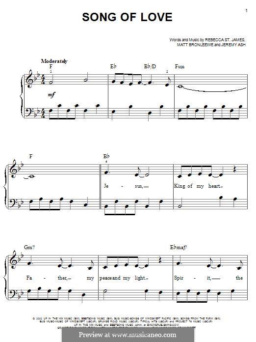 Song of Love: Facil para o piano by Jeremy Ash, Matt Bronleewe