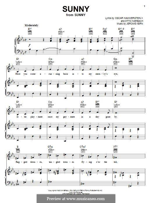 Sunny: Para vocais e piano (ou Guitarra) by Jerome Kern