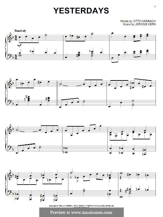 Yesterdays: Para Piano by Jerome Kern
