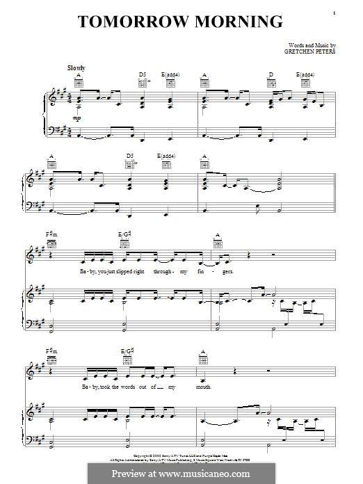Tomorrow Morning: Para vocais e piano (ou Guitarra) by Gretchen Peters